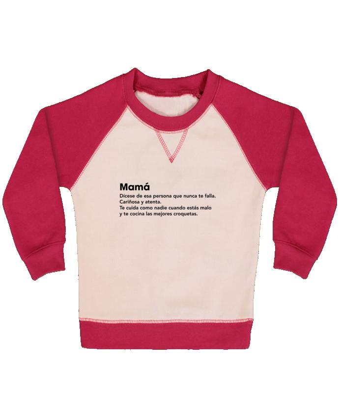 Sweat Shirt Bébé Col Rond Manches Raglan Contrastées Mamá definición par tunetoo