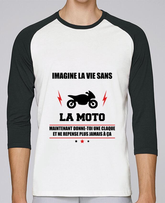 T-Shirt Stanley Stella baseball col rond unisex Imagine la vie sans la moto par Benichan