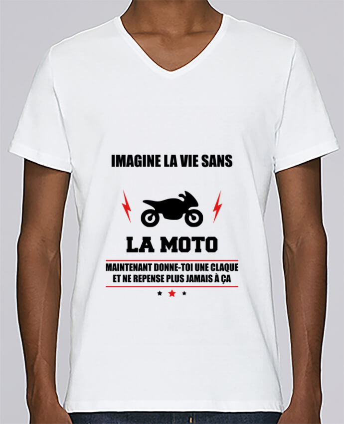 T-shirt Col V Homme Stanley Relaxes Imagine la vie sans la moto par Benichan
