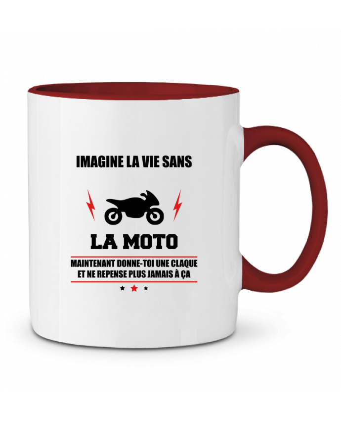 Mug en Céramique Bicolore Imagine la vie sans la moto Benichan