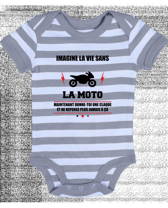 Body Bébé à Rayures Imagine la vie sans la moto - Benichan