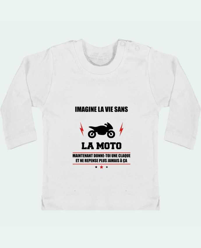 T-shirt Bébé Manches Longues Boutons Pression Imagine la vie sans la moto manches longues du designer Benichan