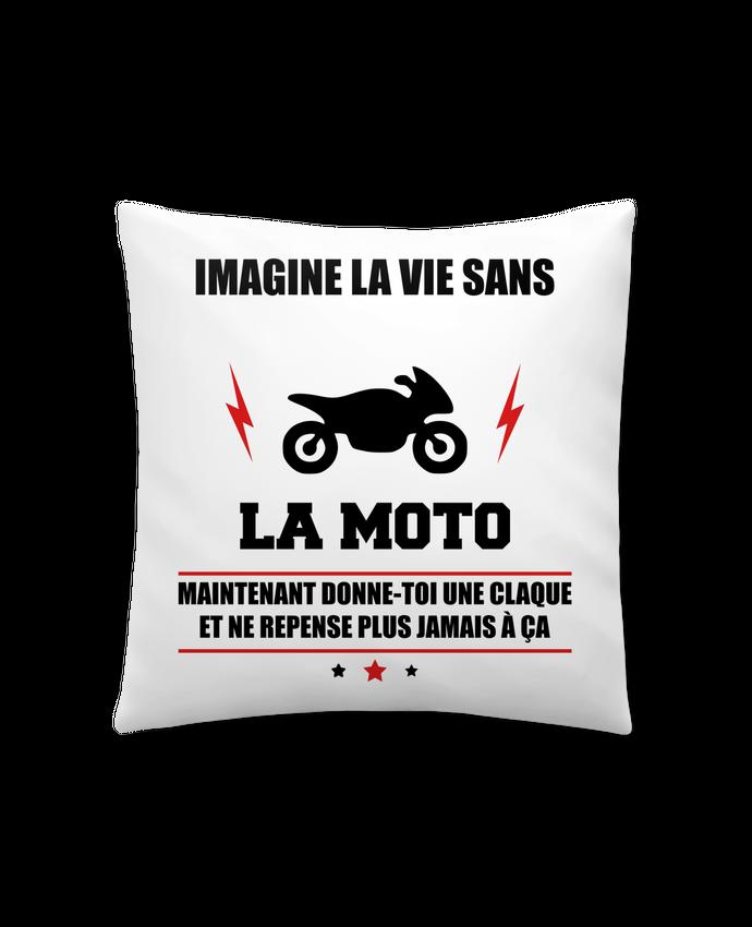 Coussin Synthétique Doux 41 x 41 cm Imagine la vie sans la moto par Benichan