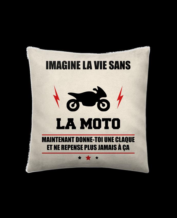 Coussin Toucher Peau de Pêche 41 x 41 cm Imagine la vie sans la moto par Benichan