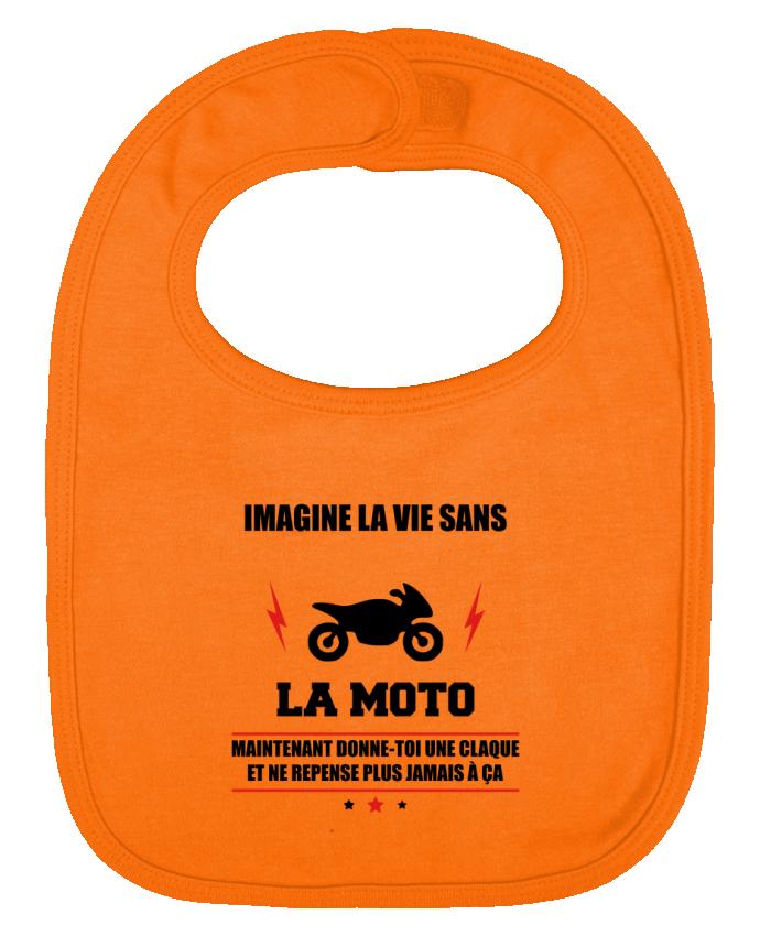 Bavoir Uni et Contrasté Imagine la vie sans la moto par Benichan