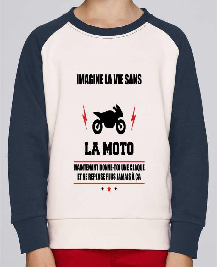 Sweat Shirt Col Rond Enfant Stanley Mini Contrast Imagine la vie sans la moto par Benichan