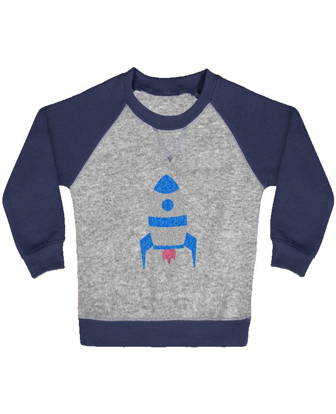 Sweat Shirt Bébé Col Rond Manches Raglan Contrastées Fusée par Les Caprices de Filles