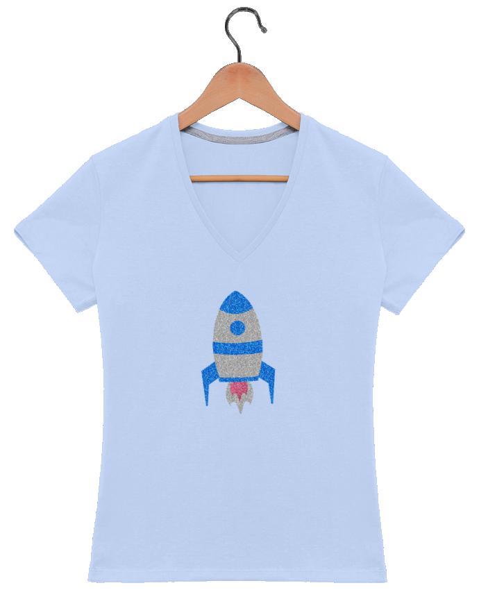 T-shirt Col V Femme 180 gr Fusée par Les Caprices de Filles