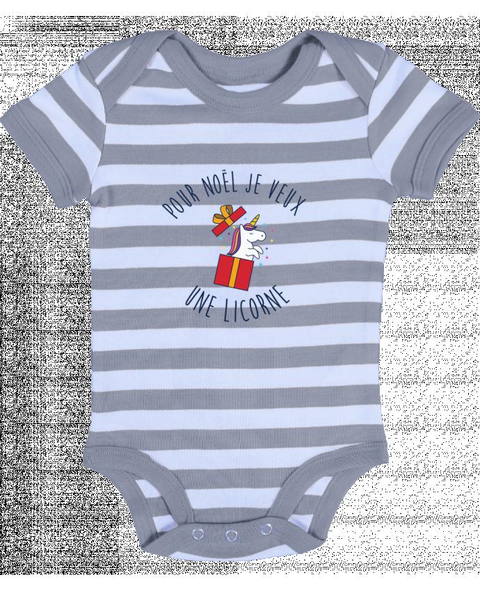 Body Bébé à Rayures Noël - Je veux une licorne - tunetoo