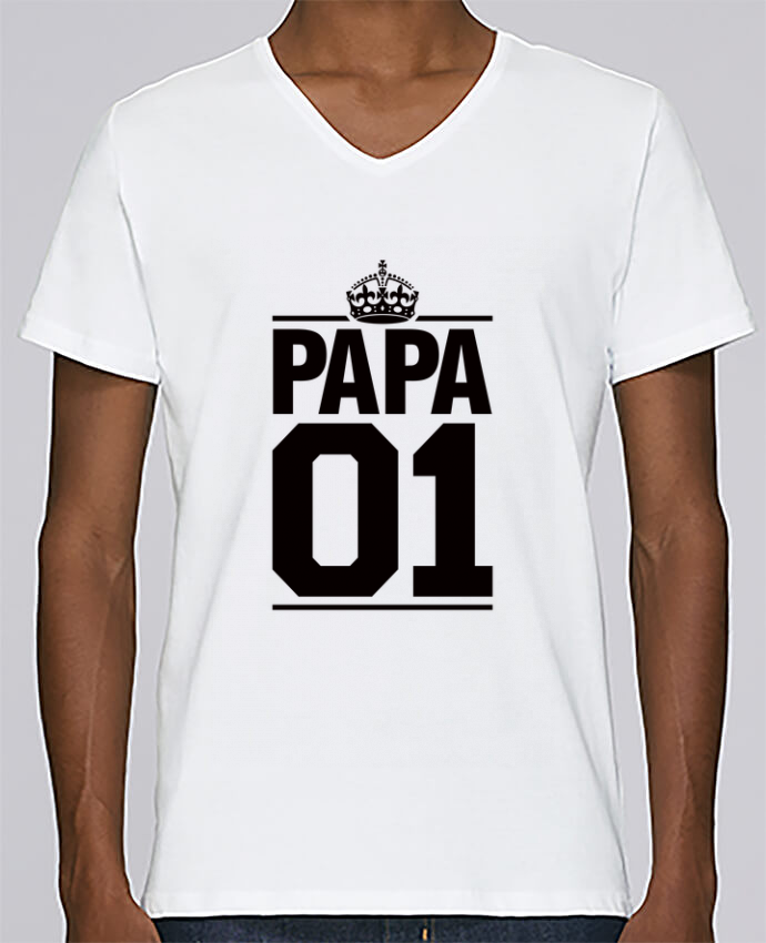 T-shirt Col V Homme Stanley Relaxes Papa 01 par Freeyourshirt.com