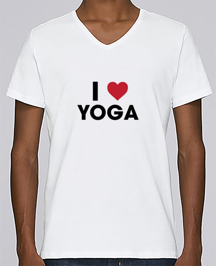T-shirt Col V Homme Stanley Relaxes I love yoga par tunetoo