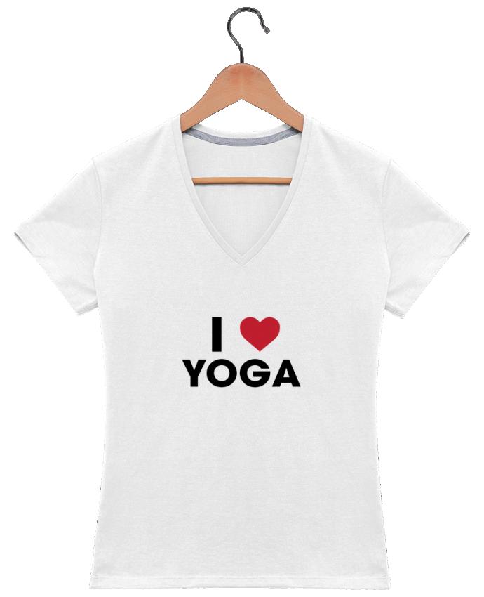 T-shirt Col V Femme 180 gr I love yoga par tunetoo
