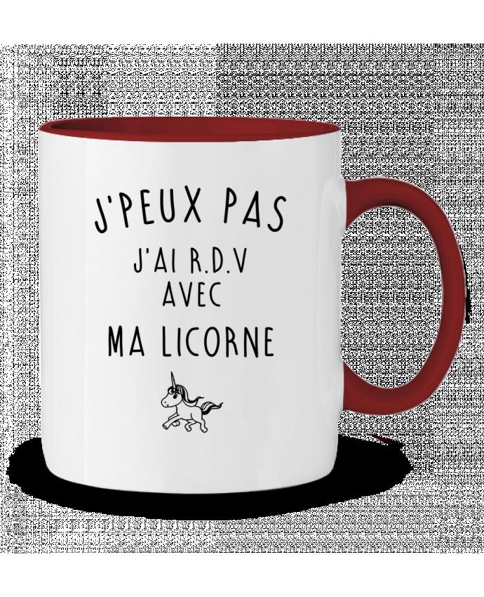 Mug en Céramique Bicolore J'peux pas j'ai r.d.v avec ma licorne LPMDL