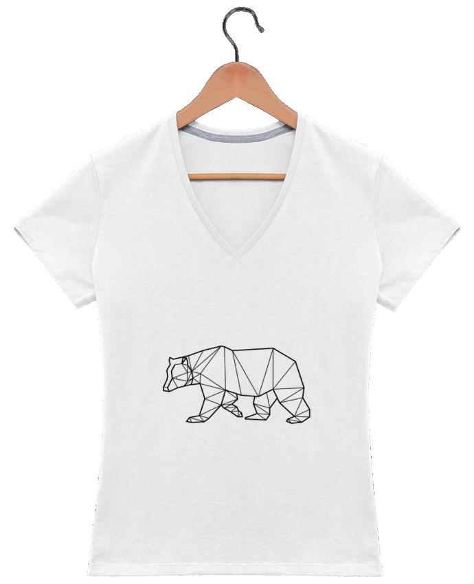 T-shirt Col V Femme 180 gr Bear Animal Prism par Yorkmout
