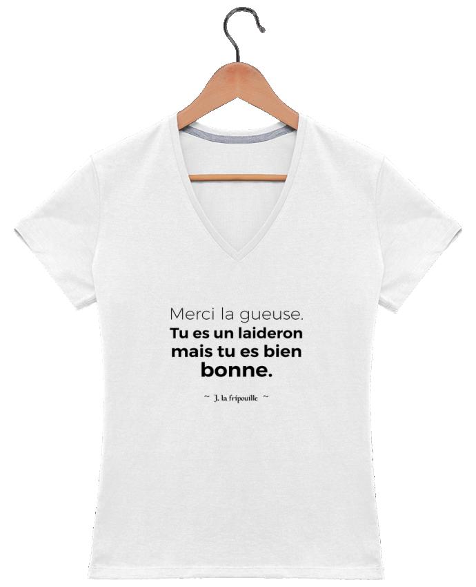 T-shirt Col V Femme 180 gr Merci la gueuse par tunetoo