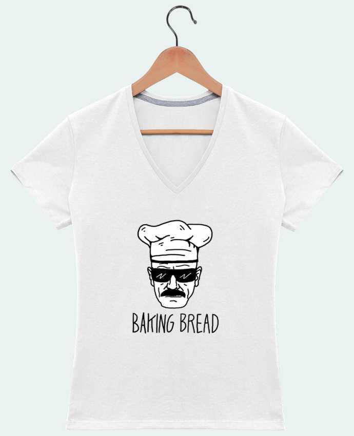 T-shirt Col V Femme 180 gr Baking bread par Nick cocozza