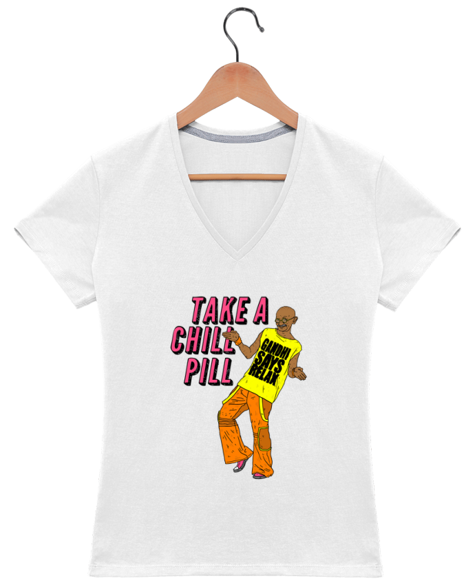 T-shirt Col V Femme 180 gr Chill Pill par Nick cocozza