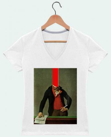 T-shirt Col V Femme 180 gr The red stripe in the head and the cigarette in the hand par Marko Köppe