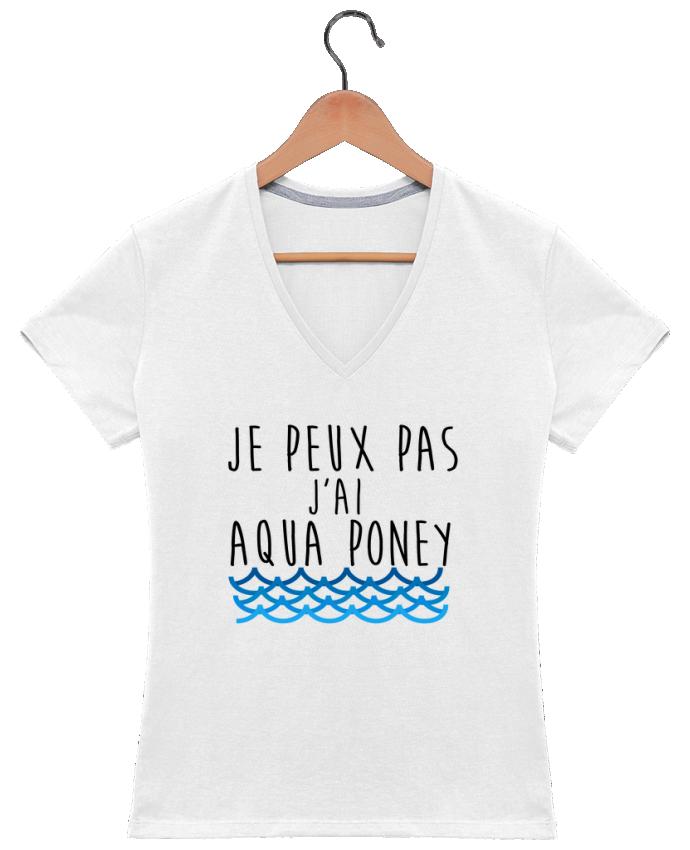 T-shirt Col V Femme 180 gr J'peux pas j'ai aqua poney par LPMDL