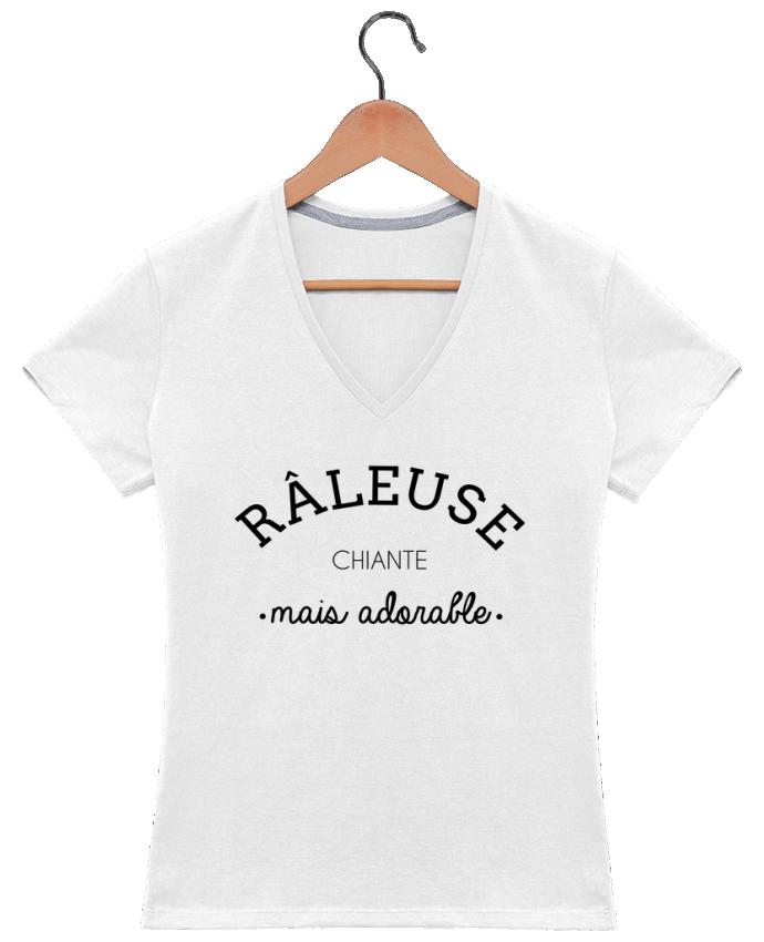 T-shirt Col V Femme 180 gr Râleuse chiante mais adorable par LPMDL