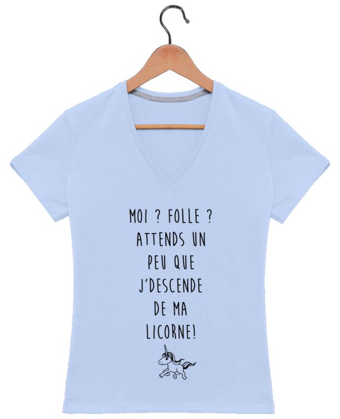 T-shirt Col V Femme 180 gr Moi ? Folle ? par LPMDL