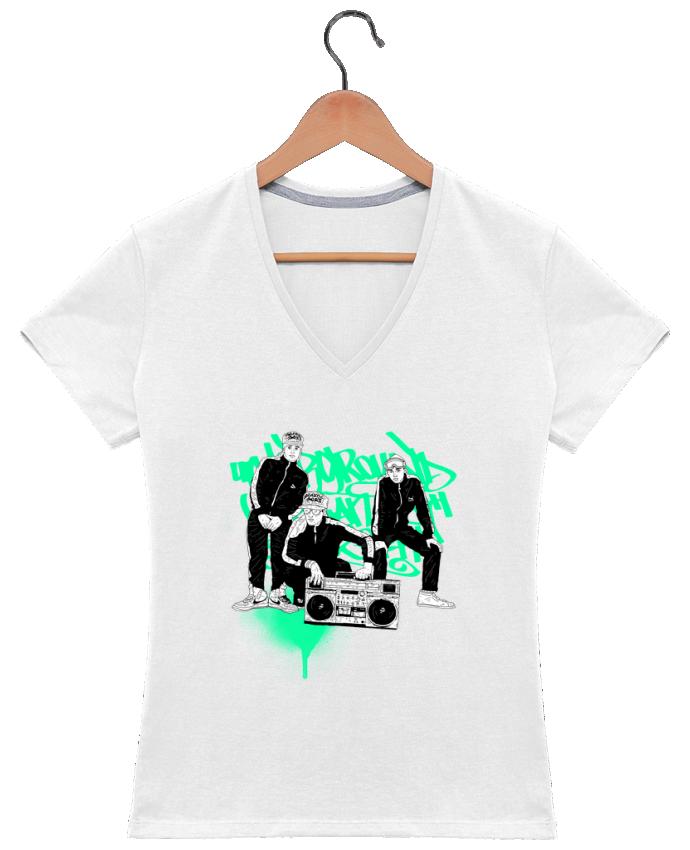 T-shirt Col V Femme 180 gr beastieboys par Nick cocozza