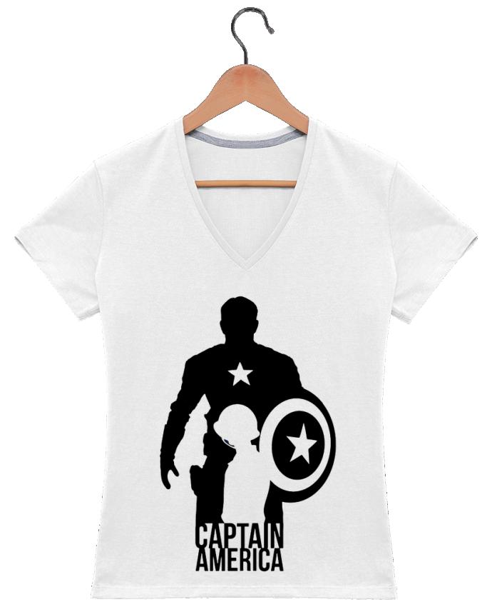 T-shirt Col V Femme 180 gr Captain america par Kazeshini