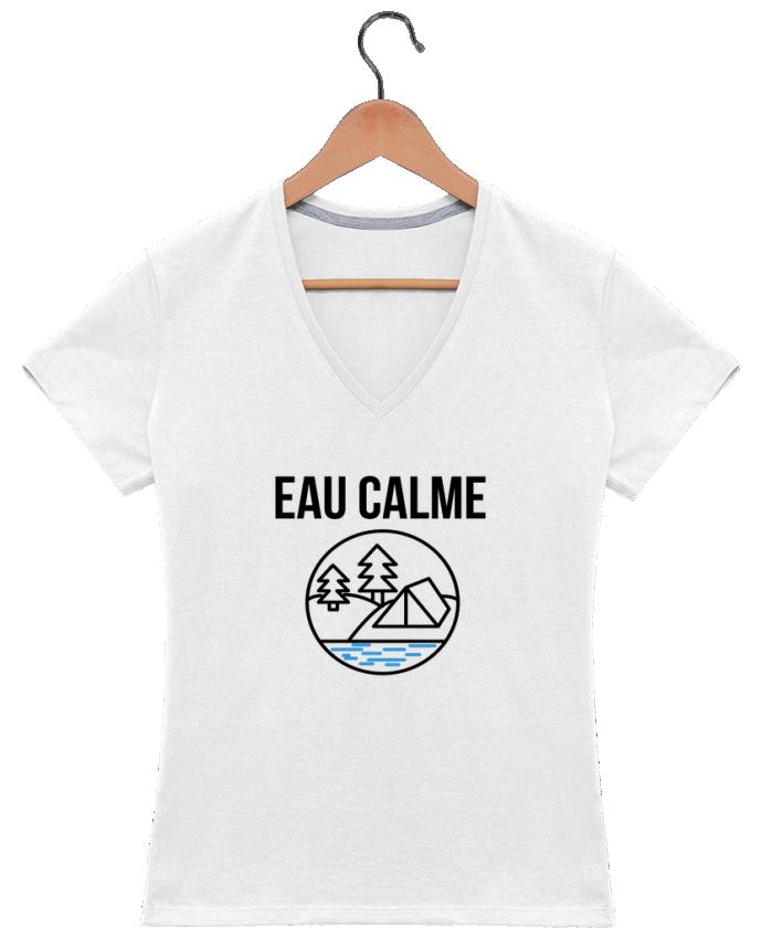 T-shirt Col V Femme 180 gr eau calme par Ruuud