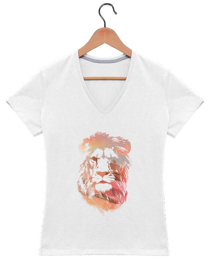 T-shirt Col V Femme 180 gr Desert lion par robertfarkas