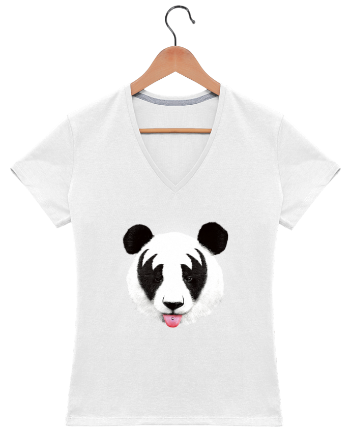 T-shirt Col V Femme 180 gr Kiss of a panda par robertfarkas