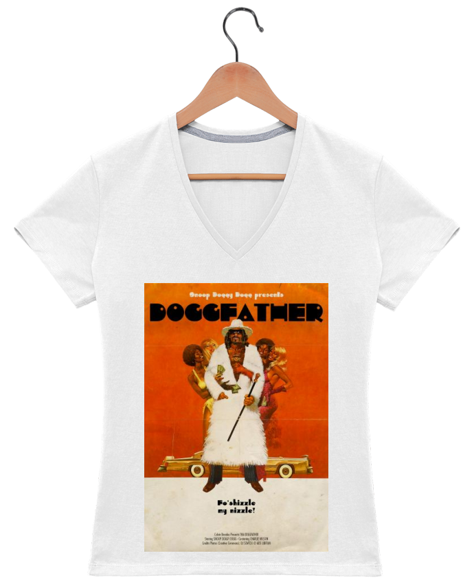 T-shirt Col V Femme 180 gr Doggfather par Ads Libitum