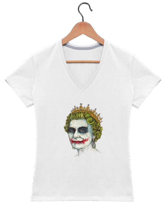 T-shirt Col V Femme 180 gr God sav the vilain par Enkel Dika