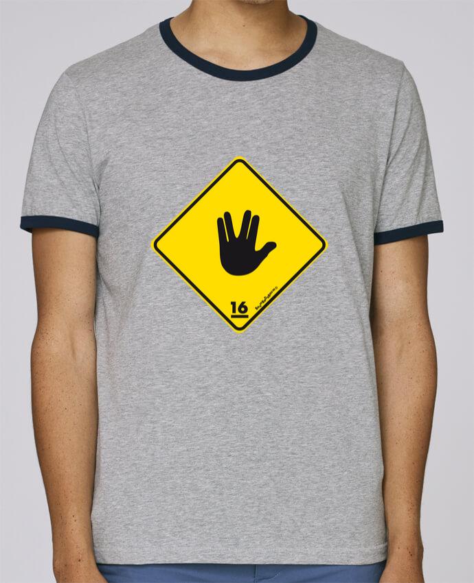 T-Shirt Ringer Contrasté Homme Stanley Holds Startrek Main Signe pour femme par Zorglub