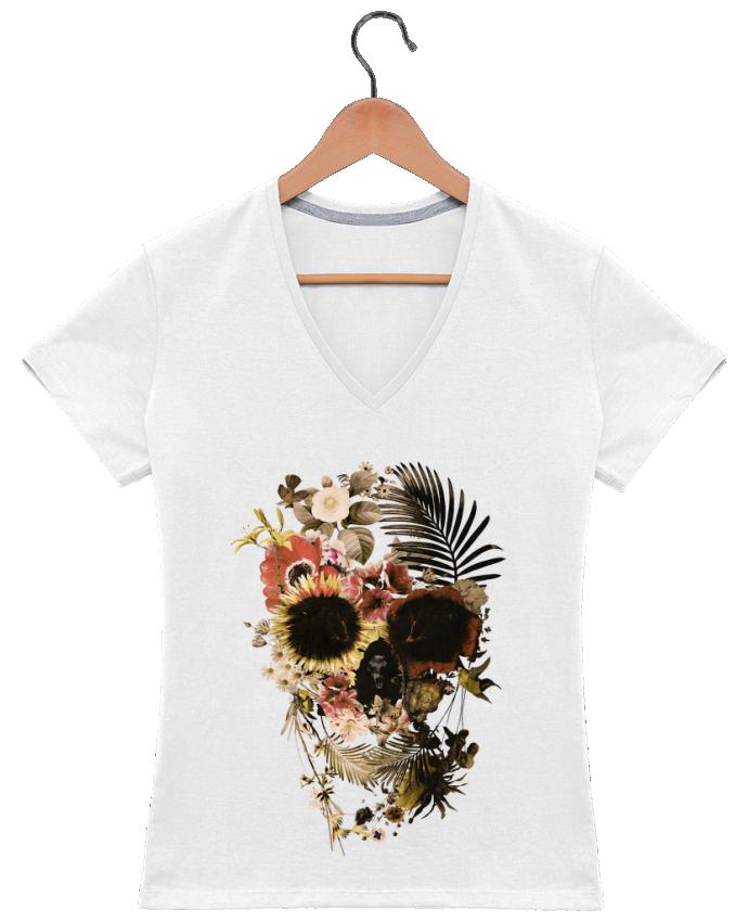 T-shirt Col V Femme 180 gr Garden Skull par ali_gulec