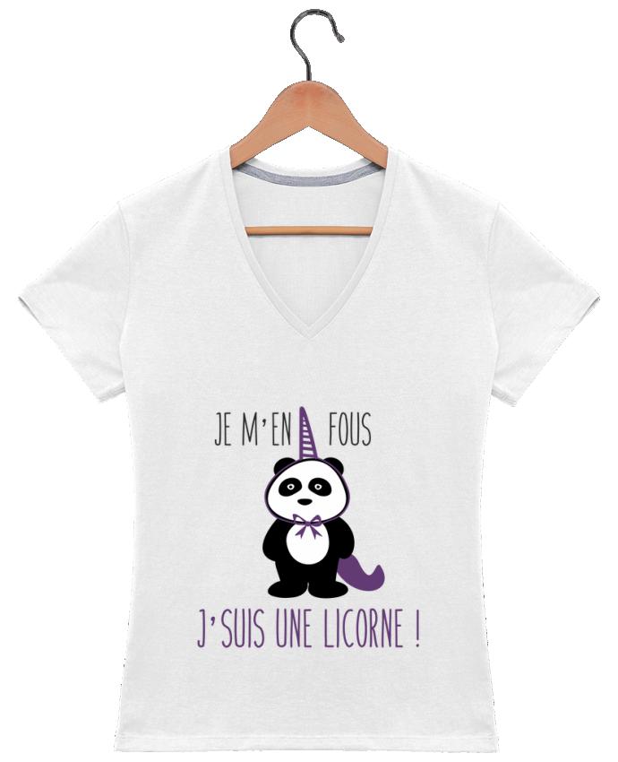 T-shirt Col V Femme 180 gr Je m'en fous j'suis une licorne par Benichan