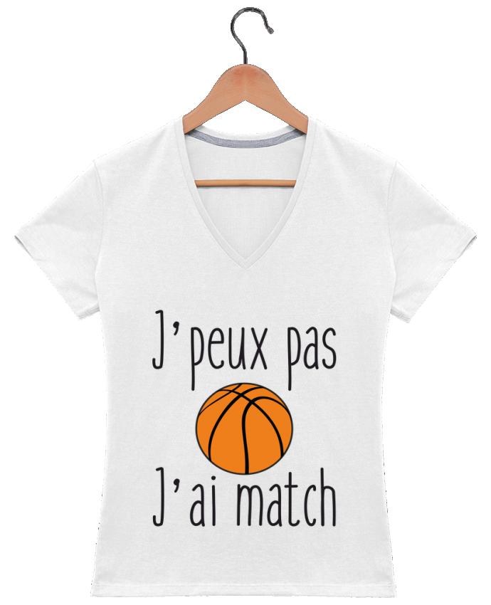 T-shirt Col V Femme 180 gr J'peux pas j'ai match de basket par Benichan