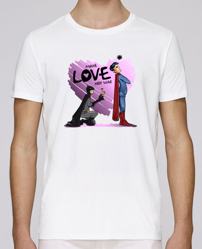 T-Shirt Col Rond Stanley Leads MAKE LOVE NOT WAR (BATMAN VS SUPERMAN) par teeshirt-design.com