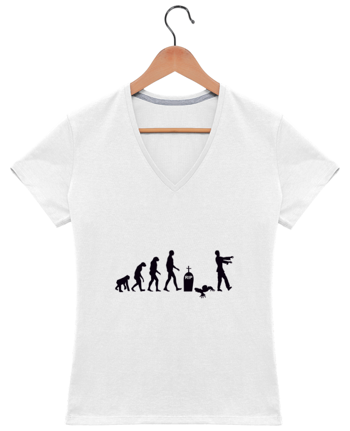 T-shirt Col V Femme 180 gr Zombie évolution par Benichan