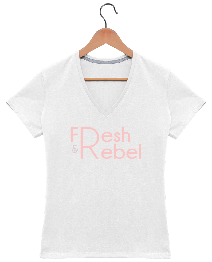 T-shirt Col V Femme 180 gr Fresh and Rebel par tunetoo