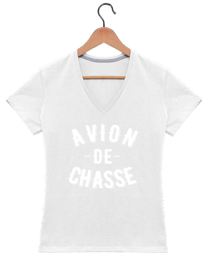T-shirt Col V Femme 180 gr Avion de chasse par tunetoo