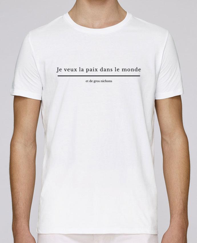 T-Shirt Col Rond Stanley Leads Paix dans le monde et de gros nichons par tunetoo