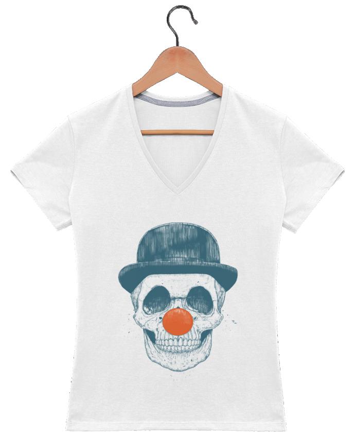 T-shirt Col V Femme 180 gr Dead Clown par Balàzs Solti