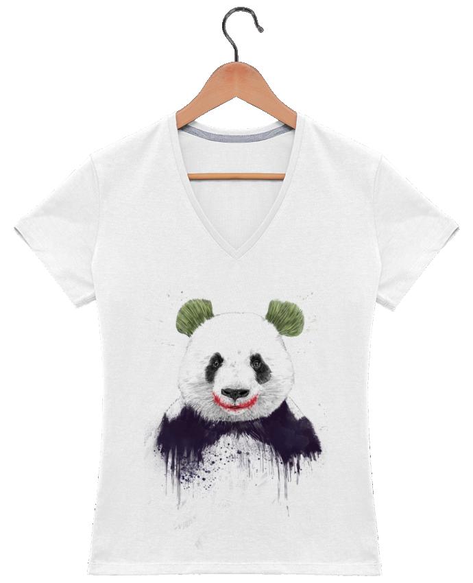 T-shirt Col V Femme 180 gr Jokerface par Balàzs Solti