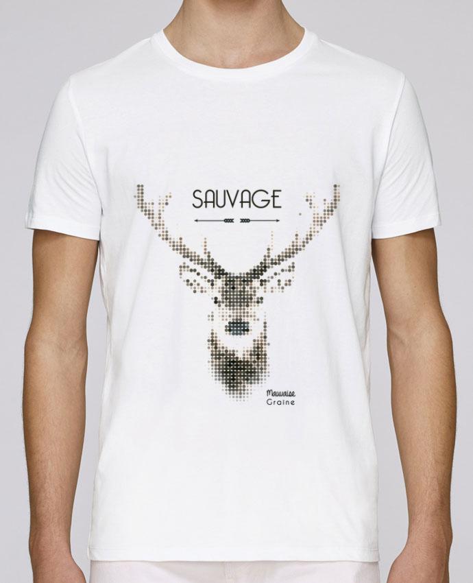 T-Shirt Col Rond Stanley Leads Tête de cerf sauvage par Mauvaise Graine