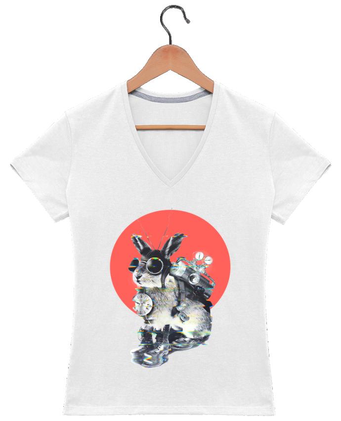 T-shirt Col V Femme 180 gr time traveller par ali_gulec