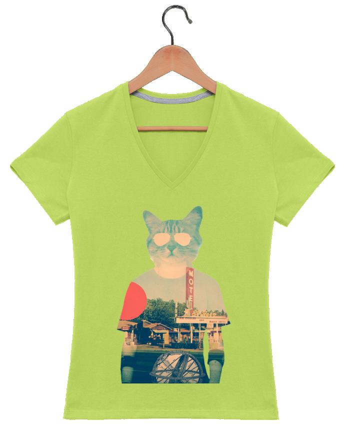 T-shirt Col V Femme 180 gr Cool cat par ali_gulec