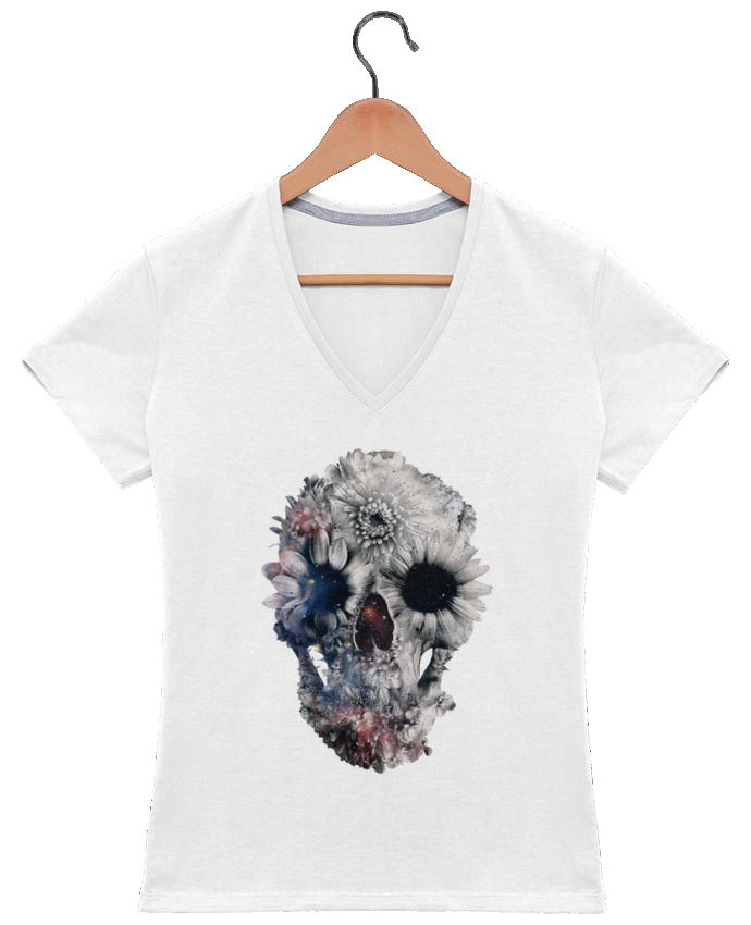 T-shirt Col V Femme 180 gr Floral skull 2 par ali_gulec
