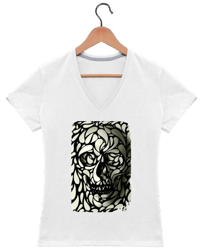 T-shirt Col V Femme 180 gr Skull 4 par ali_gulec