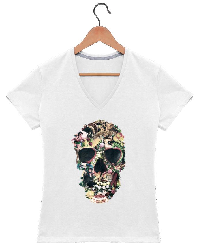 T-shirt Col V Femme 180 gr Vintage Skull par ali_gulec