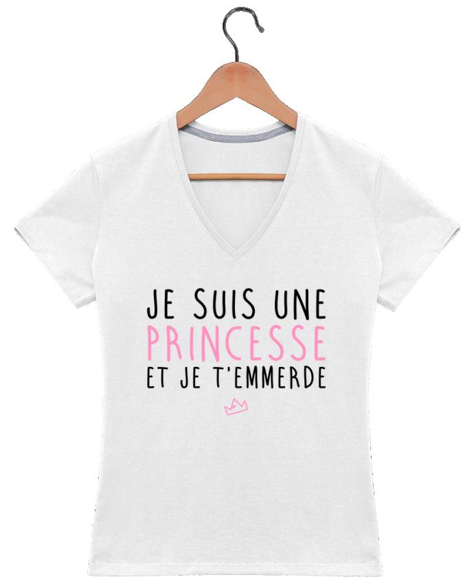 T-shirt Col V Femme 180 gr Je suis une princesse et je t'emmerde par LPMDL